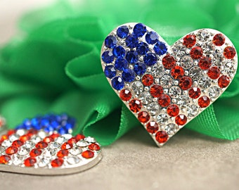 5 Patriotic Heart Flat Back Button Embellishment - 21mm buttons - Acrylic Rhinestone Buttons - Flatback Metal rhinestone button 4th of July