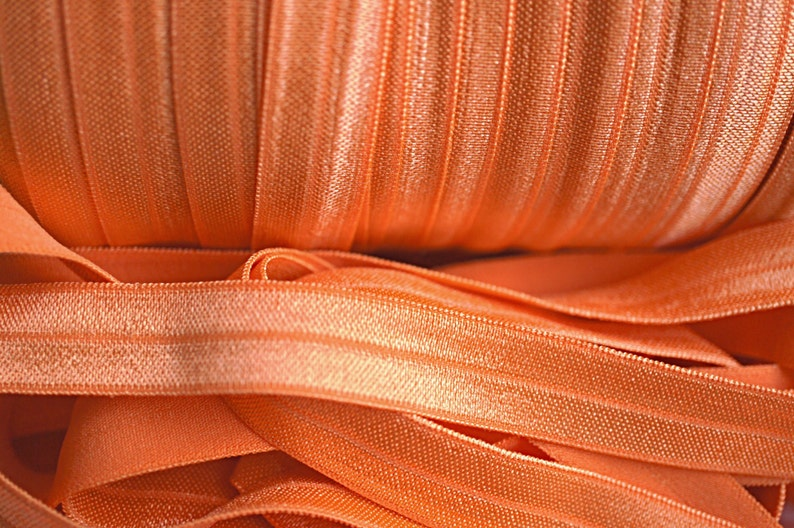 Foldover Elastic 58 Fold Over Elastic Shiny Elastic Elastic Ribbon Wholesale FOE Orange FOE Elastic by the yard Solid FOE