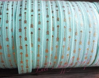 1 yard - Foil Print Mint and Gold Arrows FOE - 5/8 Fold Over Elastic - Foldover Elastic - printed FOE - Elastic by the yard - DIY