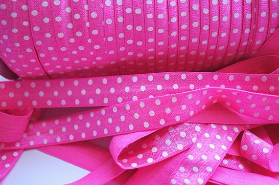 "3 yards hot pink w// black polka dot print 5//8/"" fold over elastic FOE"