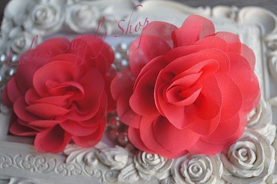 Coral chiffon flowers rose silk chiffon flower for etsy image 0 mightylinksfo