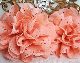 2 Peach Eyelet Flower - Fabric Flower - Vintage Chiffon Flower - Lace rose - Wholesale flowers - Lace Flower - Eyelet Fabric Flower