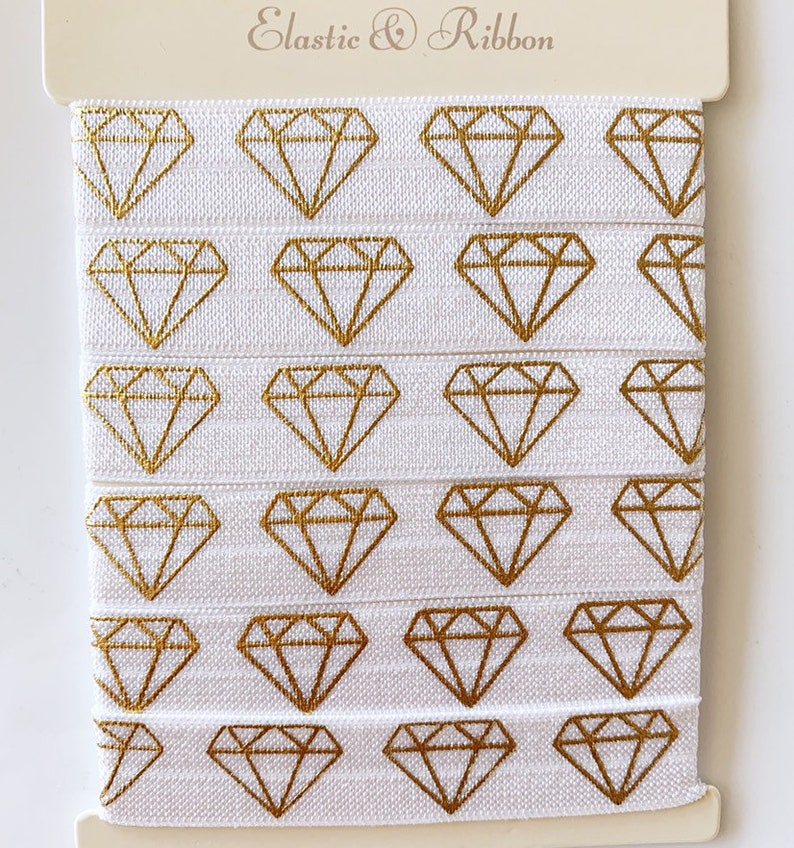 White /& Gold Diamond FOE Bulk Elastic by the yard Wholesale Elastic Ribbon 58 Fold Over Elastic Diamond Foldover Elastic