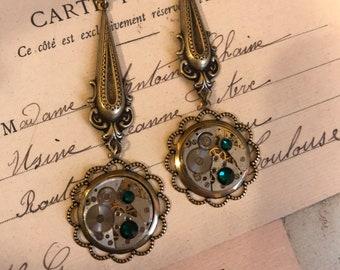 Steampunk Earrings, Dangle Earrings, Timepiece, Steampunk Jewelry, Unisex, Jewelry, Gold, Earrings, Women Earrings,Gift Idea