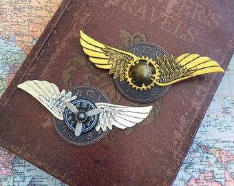 Steampunk, Steampunk Brooch, Jewelry, Man, Lapel Pin, Aviator Pin, Aviation, Gothic, OOAK, Brooch, Clockworks, Cosplay, Gears, Coat Pin