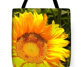 Sunny Disposition Sunflower Art Photo Tote Bag, Cheery Sunflower Bag for Groceries, Book Bag, Beach Bag, Poly/Cotton Tote, 18 x 18 Tote Bag
