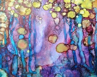16x16 Twilight Woods Alcohol Ink Art Print, Alcohol Ink Art, Abstract Art, Purple, Blue, Yellow, Home Decor, Wall Art, Landscape, Trees, Art