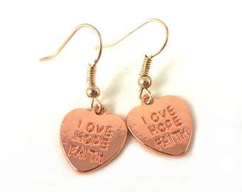 Love hope faith earrings