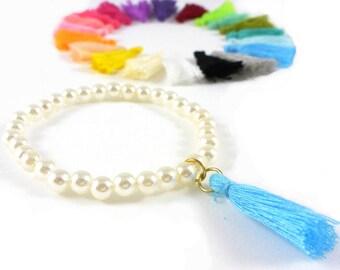 White Pearl bracelet with tassel