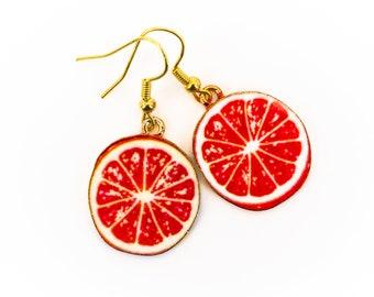 Earrings Grapefruit Slices