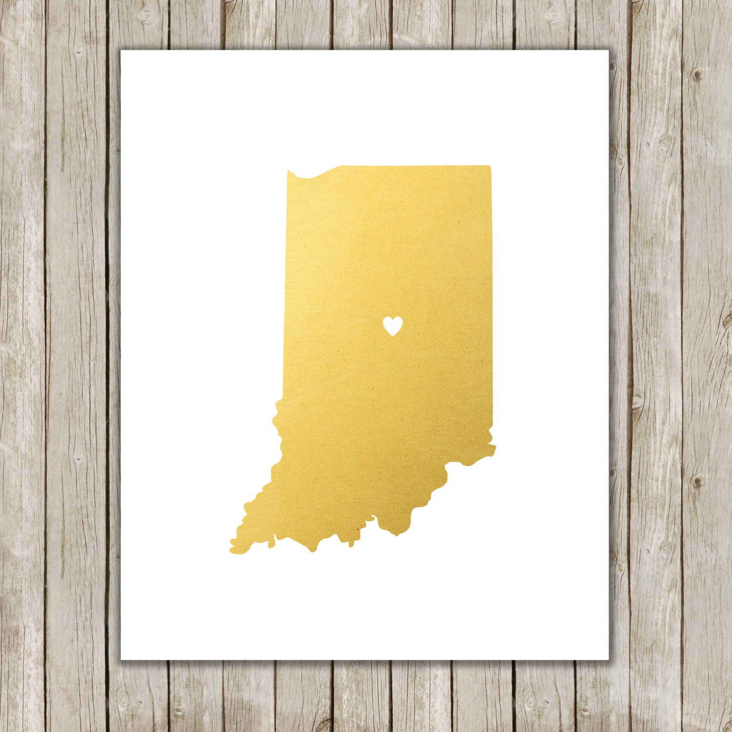 8x10 Indiana State Print Geography Wall Art Metallic Gold | Etsy
