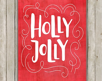 8x10 Christmas Printable Art, Holly Jolly Christmas, Typography Print, Christmas Holiday Decor, Holly Berry Holiday Art, Instant Download