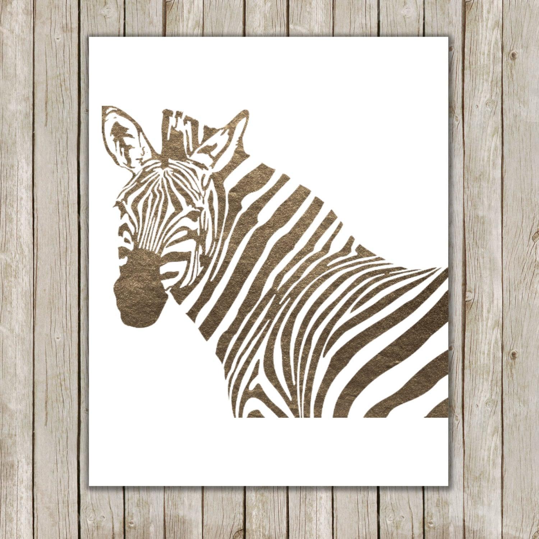 8 X 10 Bronze Metallischen Zebra Kunstdruck Zebra