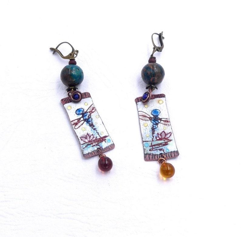 Bohemian beads serpentine nature earrings women gift glass copper enamel Christmas jewelry Rustic