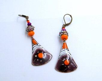 rustic earrings - tribal - copper - enamel - howlite - glass beads - handmade - unique piece