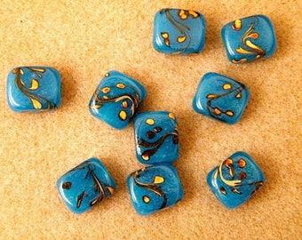 5 rectangular glass, blue and yellow lampwork beads