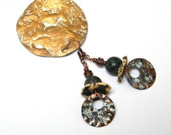 Rustic earrings copper hammered and patina