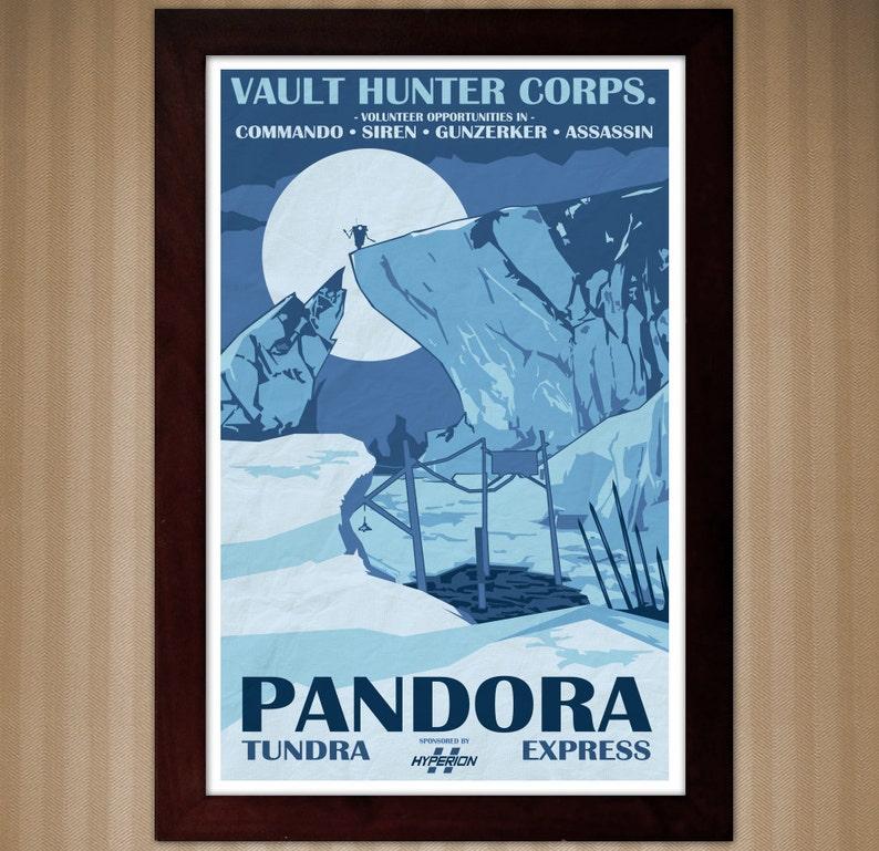 Borderlands 2 - Pandora - Tundra Express - Vintage National Park Style  Posters - 11x17