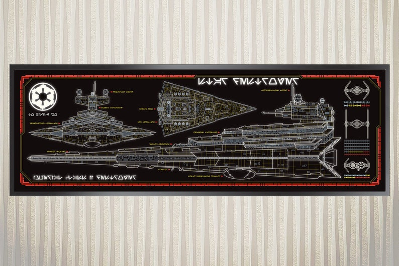 beb8c15e886 Imperial Star Destroyer Class II Schematic Print 36x11.75