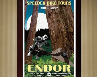 Star Wars - Endor Travel Poster - Speeder Bike Tours - 11x17