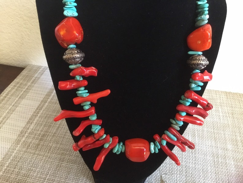 Old Pawn,and Santa Fe Look of Turquoise and Coral! Statement Necklace with Native American