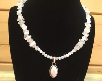 17 1/2 Inch Choker of Rose Quartz chips and rounds with Native American made Sterling and Pale Pink Shell Pendant
