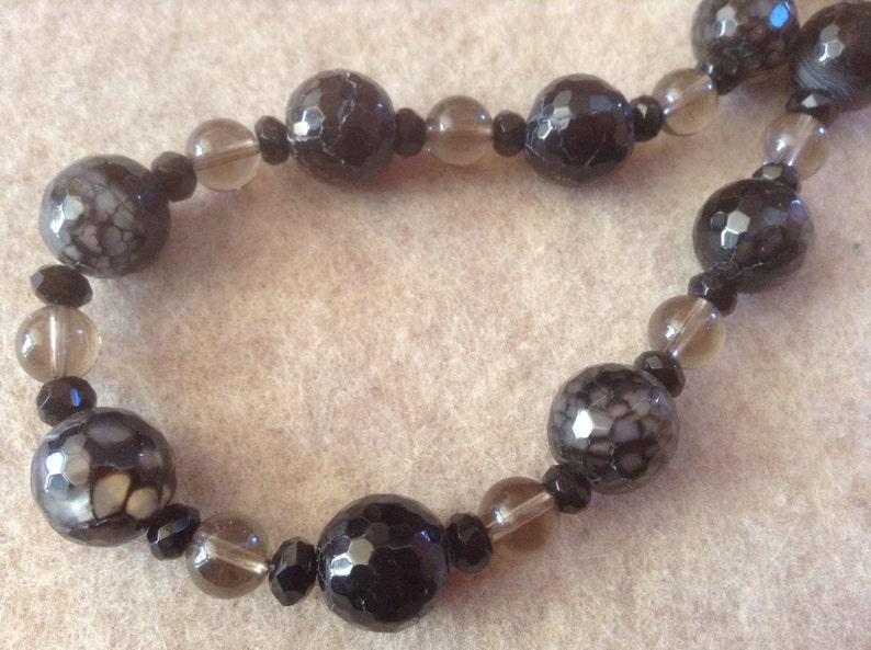 19-20 inch Necklace of Black Fire Agates Mixed With Smokey Topaz Beads of Varied Sizes Sterling Trigger Clasp Extender Chain