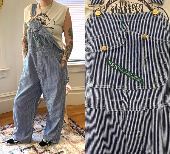 Vintage 1960s OVERALLS Key Imperial Hickory Stripe