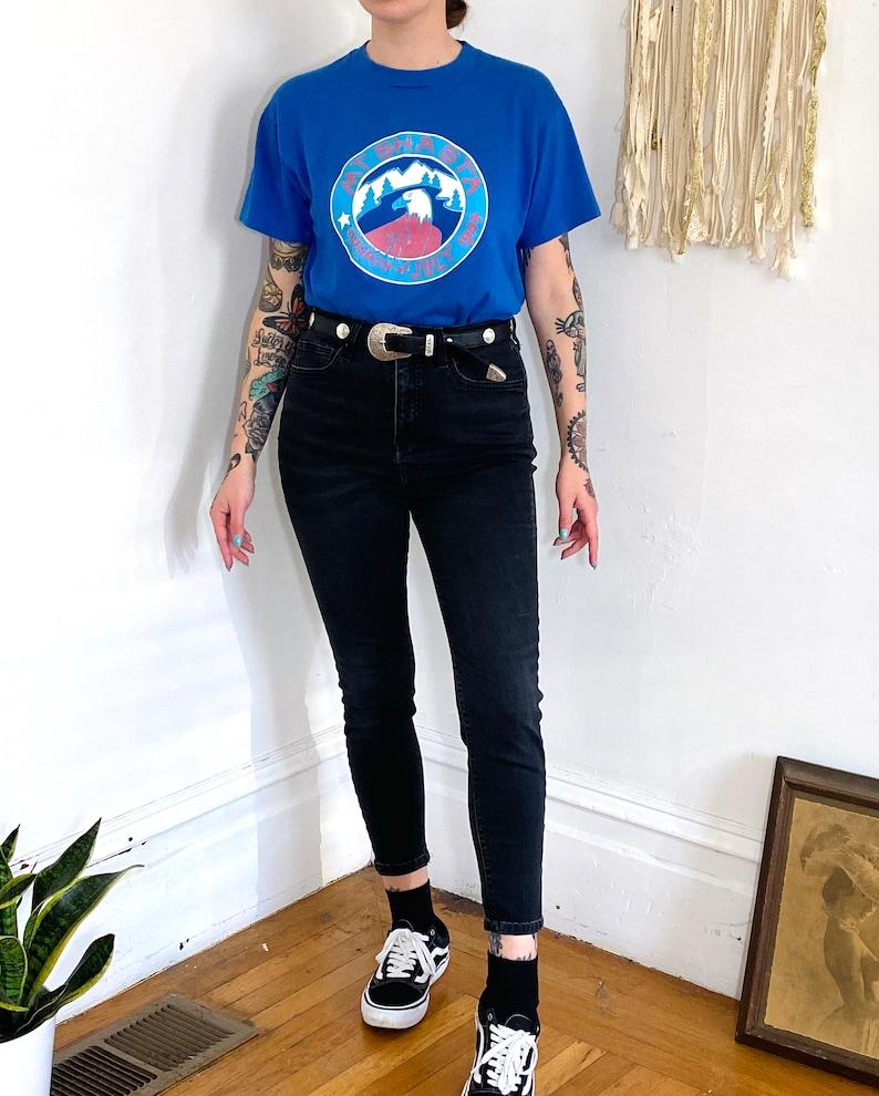 Vintage 1984 MT SHASTA 80s Fourth of July Eagle Blue T Shirt Single Stitch Tee  Hipster Streetwear Western Prep  Medium  Large