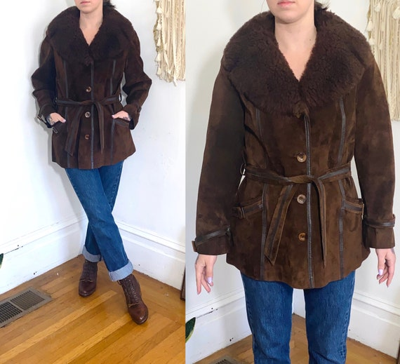 Vintage 70/'s 80/'s Brown /& Burgundy Leather Suede Belted Coat Jakcet Small to Medium