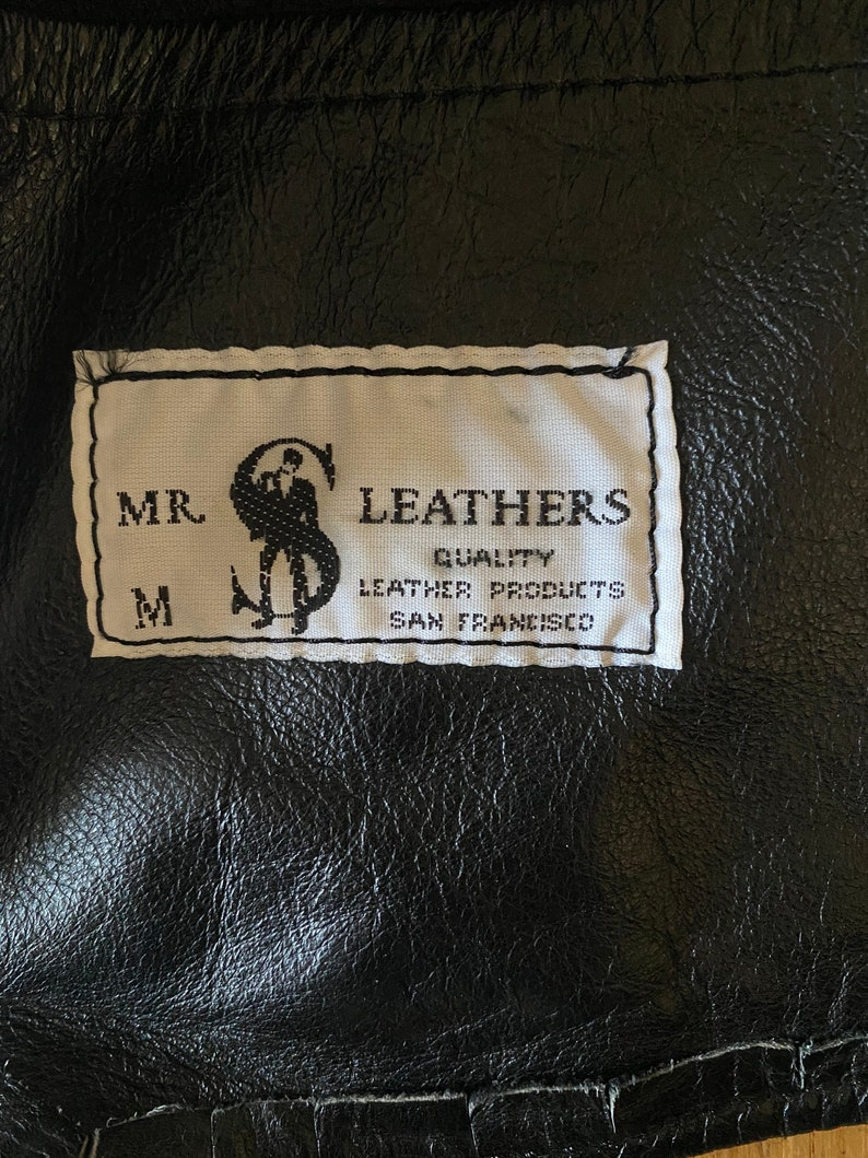 Vintage 90s LEATHER CHAIN Sleeveless Biker Western Mr S San Francisco Handmade Vest  XS Small Medium