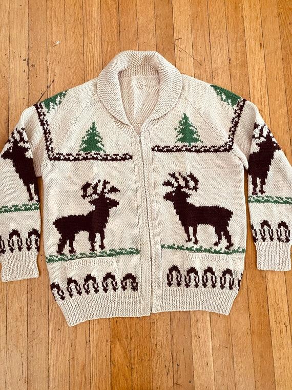 Vintage COWICHAN Fair Isle Deer Print Zip Up Wool