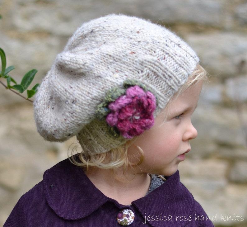 Knitting Patterns Girls Hats Little Petal Slouchy Etsy