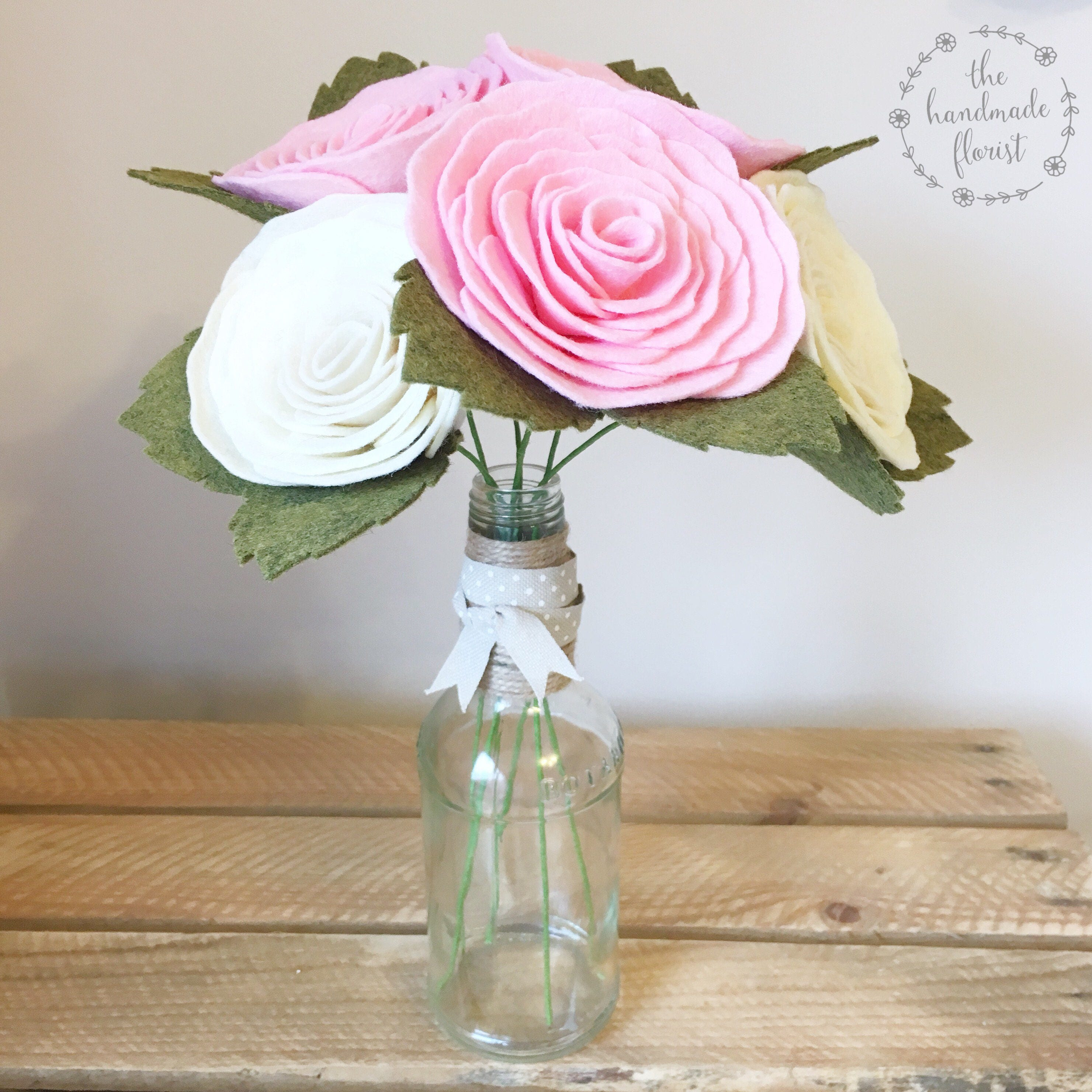 Pdf tutorial diy felt flowers spiralling rose bouquet no etsy zoom izmirmasajfo