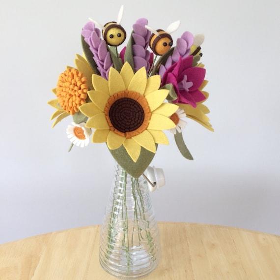 PDF tutorial: DIY Felt Flowers Sunshine Bee Bouquet no | Etsy