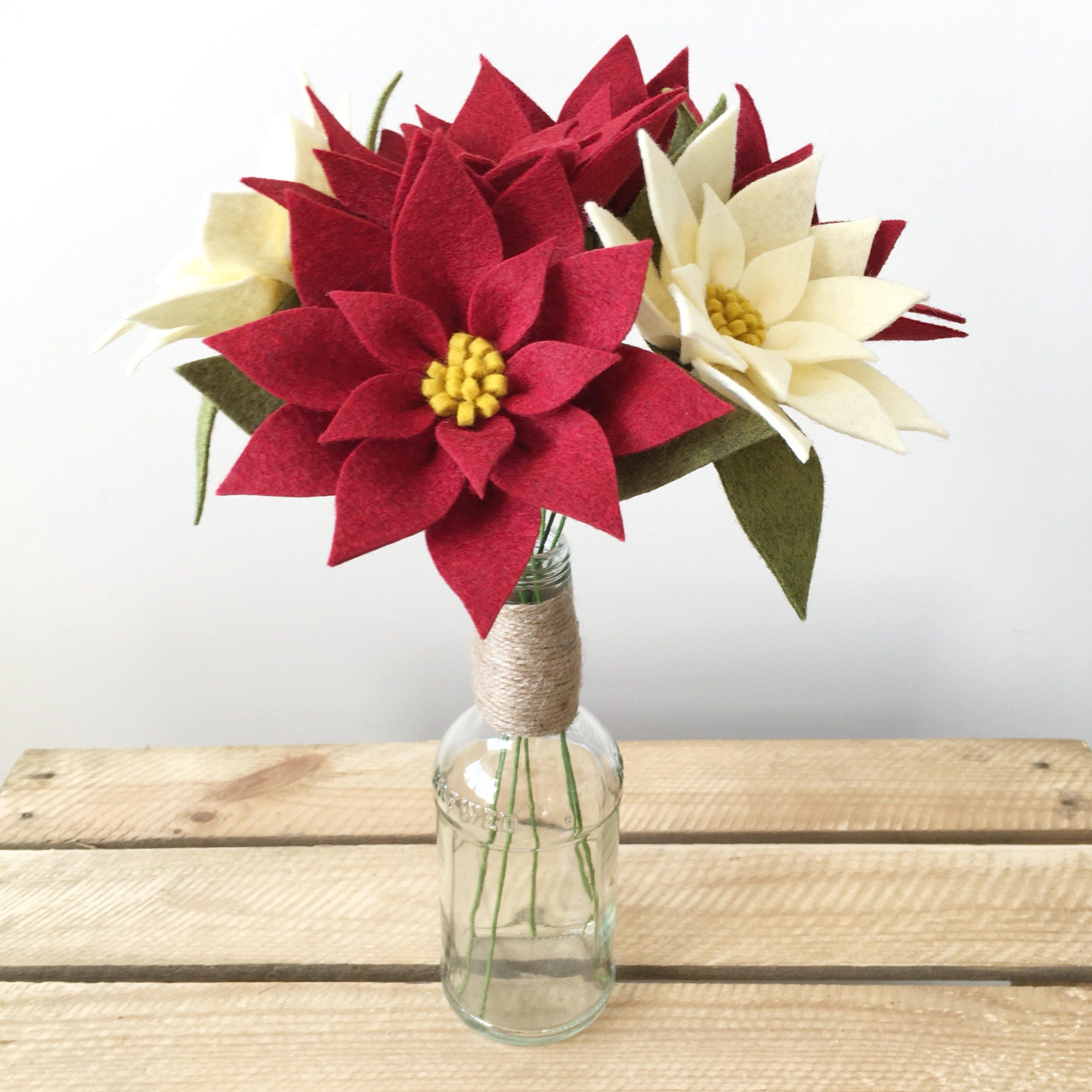 Pdf tutorial diy felt flowers poinsettia bouquet no sew etsy zoom izmirmasajfo
