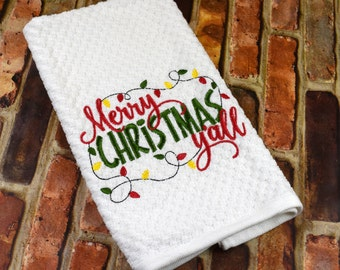 Kitchen Towel | Embroidered Christmas Towel | Christmas Kitchen Towel | Decorative Towel | Merry Christmas Y'all Towel | Holiday Gift
