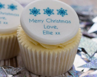 christmas snowflake cupcake toppers cupcake decorations edible sugar cup christmas gift personalised xmas cakes baking supplies