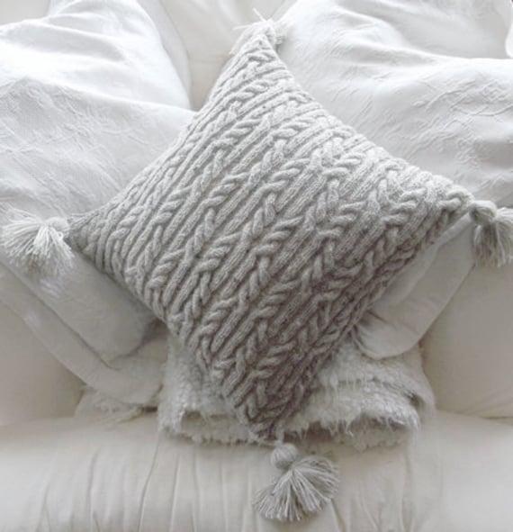 Aran Trellis Cable Cushionpillow Hand Knitting Pattern Pdf Etsy