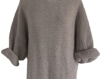 Aran Garter Stitch Sweater. Knitting Pattern. PDF Download.