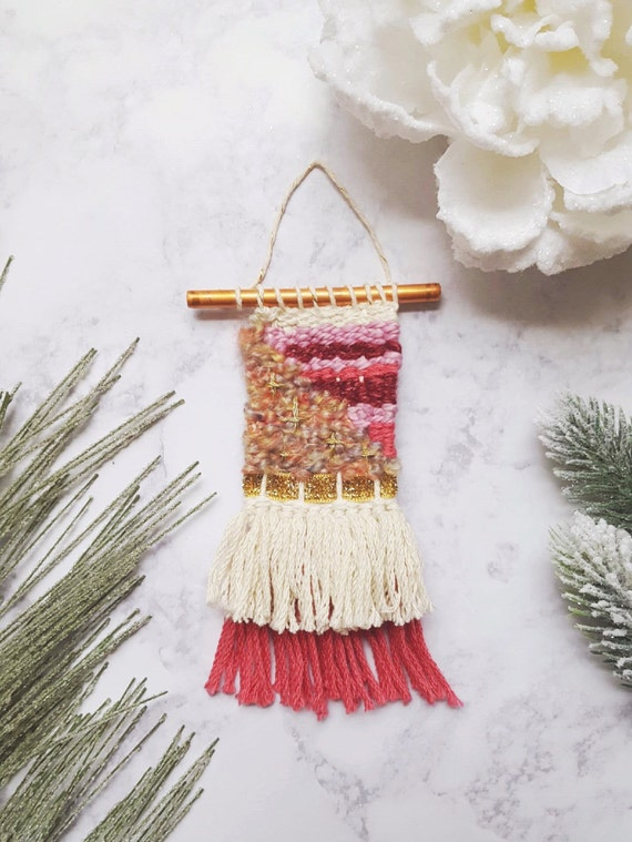 Weaving Ornament Blue Weaving Pink Christmas Gift Weaving Mini Wall Hanging Christmas Ornament Wall Decor Gift for Her