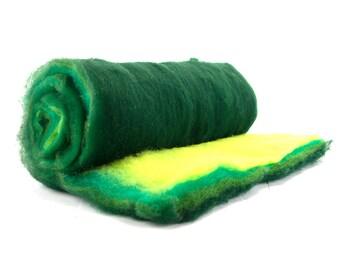Merino Wool Batt - Commercial Wool Batt in the Jungle Colorway - 7 ounces