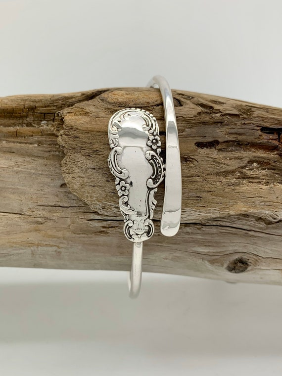 Sterling Silver Single Spoon Bangle Bracelet, Stackable
