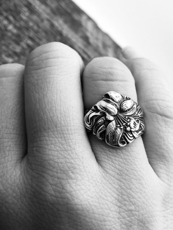 Made To Order, Vintage Sterling Silver Spoon Ring, Lily