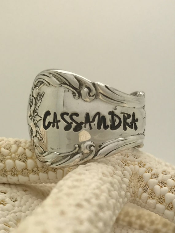 Custom Name, Word, Initials, 10 character Max, Vintage Sterling Silver Spoon Ring