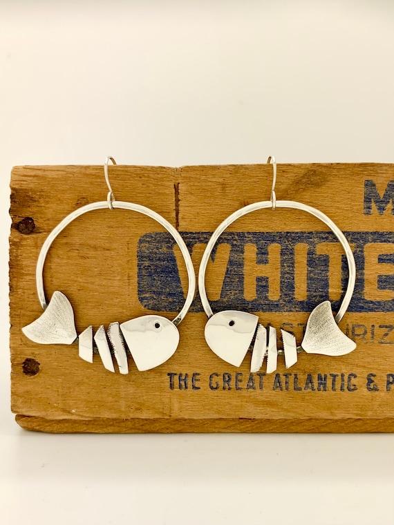 """Sterling Silver 1.5"""" Hoop Earrings, Vintage Spoon Earrings"""