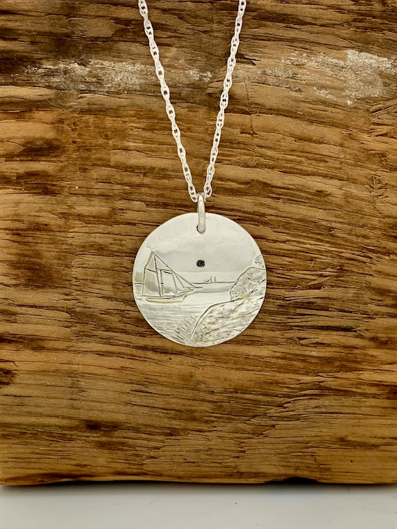 "Sterling Silver 1"" spoon necklace, Sail Boat, Disk Necklace"