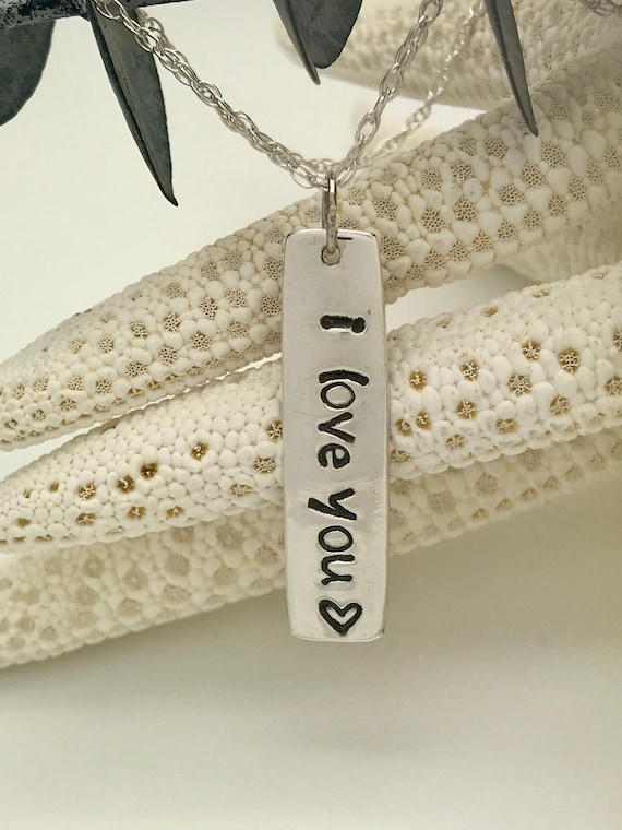 Sterling Silver, Vertical Bar Tag Necklace, Hand Stamped, Lower Case, Recycled Sterling Spoon, I Love You, Valentines Day