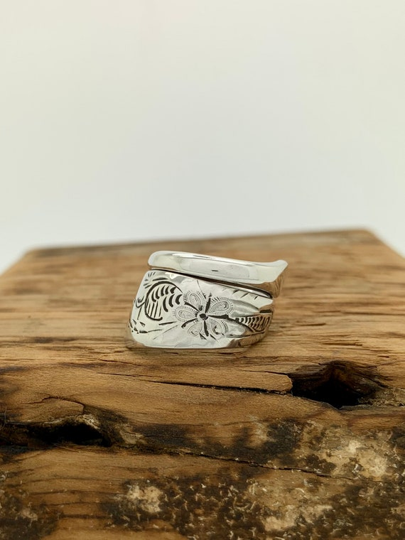 Size 4.5 Vintage, Hand Engraved, Sterling Silver Spoon Ring