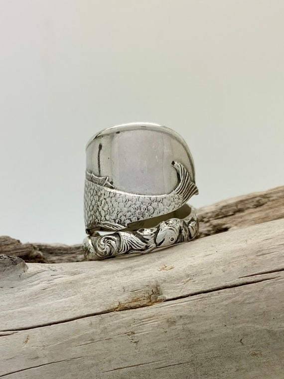 Made To Order, Vintage Sterling Silver Spoon Ring, Nautical, Fish